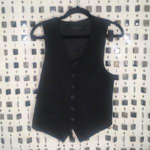 Theory black wool blend tuxedo vest sz 12